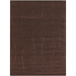 Hand-tufted Mandara New Zealand Brown Wool Rug (7' x 10')