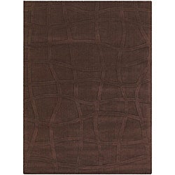 Hand-tufted Mandara New Zealand Brown Wool Rug (9' x 13')