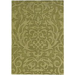 Hand-tufted Jaira Floral Green New Zealand Wool Rug (7' x 10')