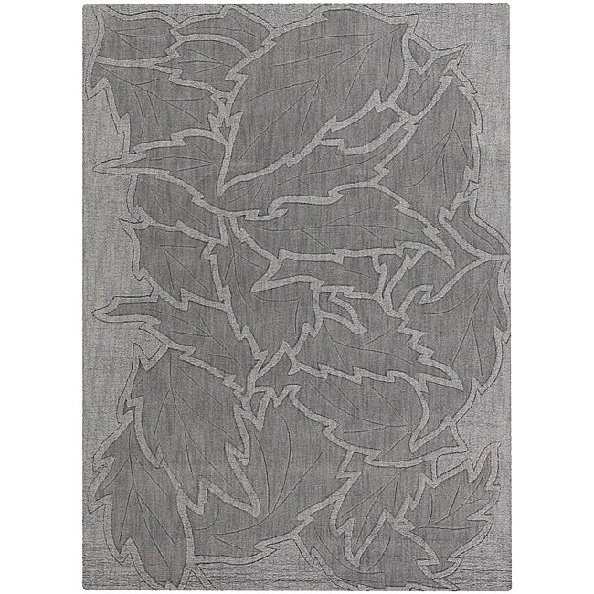 Hand-tufted Mandara Floral Grey New Zealand Wool Rug (9' x 13')