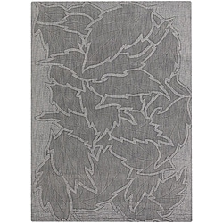 Hand-tufted Mandara Floral Grey New Zealand Wool Rug (9' x 13')