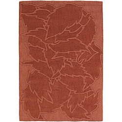 Hand-tufted Mandara Floral Red New Zealand Wool Rug (9' x 13')