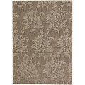 Hand-tufted Mandara Brown Floral New Zealand Wool Rug (5' x 7')