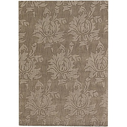 Hand-tufted Mandara  Brown Floral New Zealand Wool Rug (7' x 10')