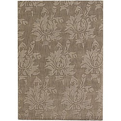 Hand-tufted Mandara Brown Floral New Zealand Wool Rug (9' x 13')