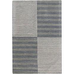 Hand-tufted Mandara Geometric Grey New Zealand Wool Rug (7' x 10')