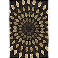 Hand-Tufted Brown/Green Mandara New Zealand Wool Rug (5' x 7'6)
