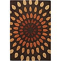 Hand-Tufted Art Silk Mandara New Zealand Wool Rug (5' x 7'6)