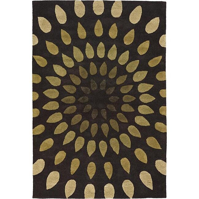 Hand-Tufted Mandara Abstract Pattern New Zealand Wool Rug (9' x 13')