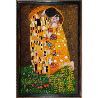 Gustav Klimt 'The Kiss (Fullview)' Framed Canvas Art