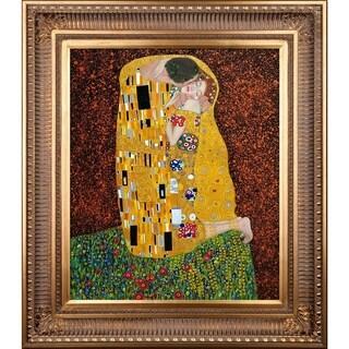 Gustav Klimt 'The Kiss (Full view)' Framed Canvas Art