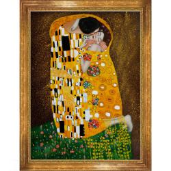 Gustav Klimt The Kiss (Full View) Hand-painted Framed Canvas Art