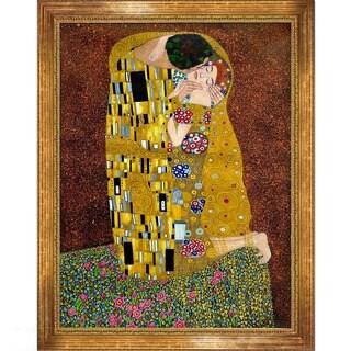 Gustav Klimt The Kiss (Full View) Hand-painted Framed Canvas Art