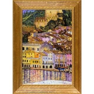 Gustav Klimt Malcesine on Lake Garda with Vienna Wood Frame Hand Painted Framed Canvas Art