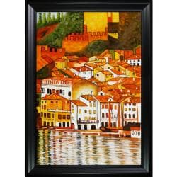 Gustav Klimt Malcesine on Lake Garda with Black Satin Frame Hand Painted Framed Canvas Art
