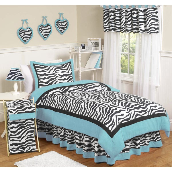 Sweet JoJo Designs Turquoise Funky Zebra 3-piece Full/ Queen-size Bedding Set