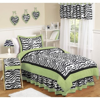 Sweet JoJo Designs Lime Funky Zebra 4-piece Twin-size Bedding Set
