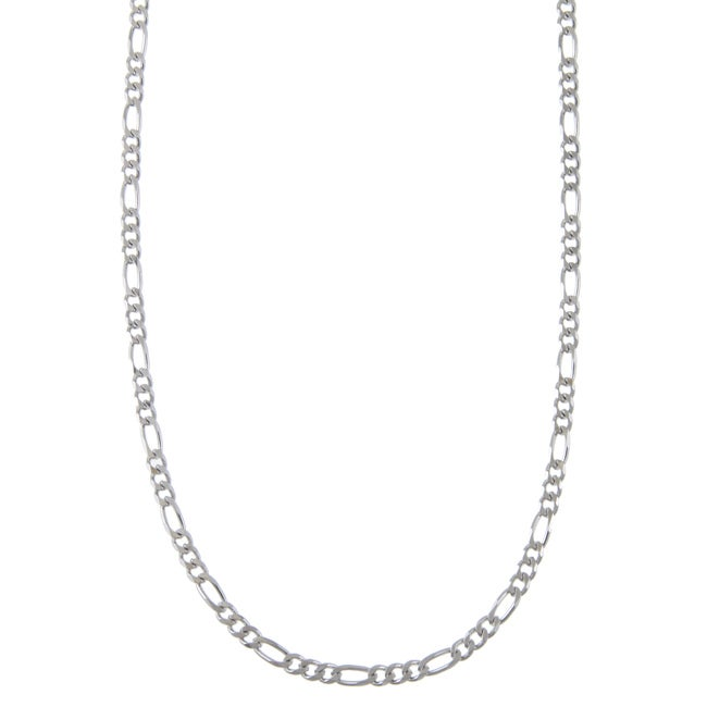 Sterling Essentials Rhodium Plated Silver 24-inch Diamond-cut Figaro Chain Necklace