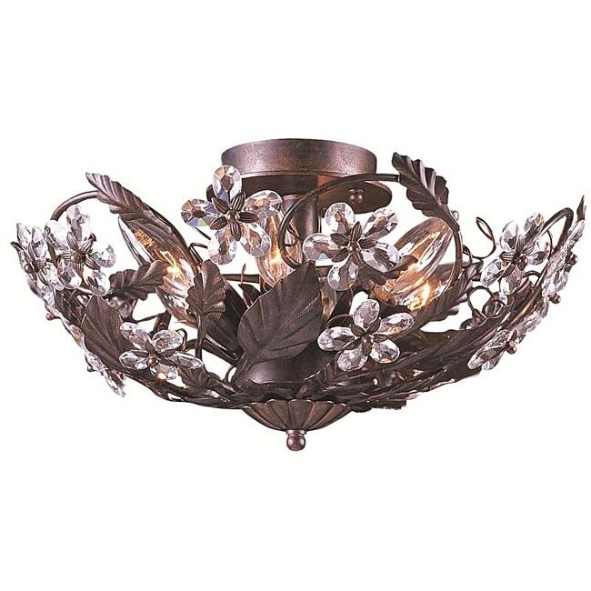 Abbey 6-light Dark Rust Semi-flush Light
