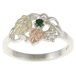 Black Hills Gold and Sterling Silver Created Emerald Ring