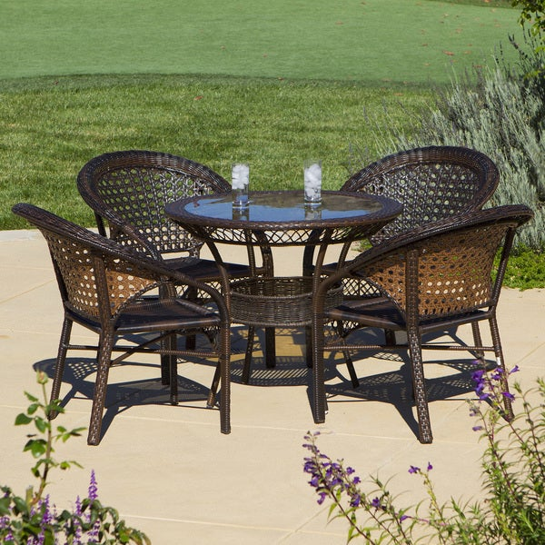 Christopher Knight Home Outdoor 5 piece Wicker Dining Bistro Table Set 1346