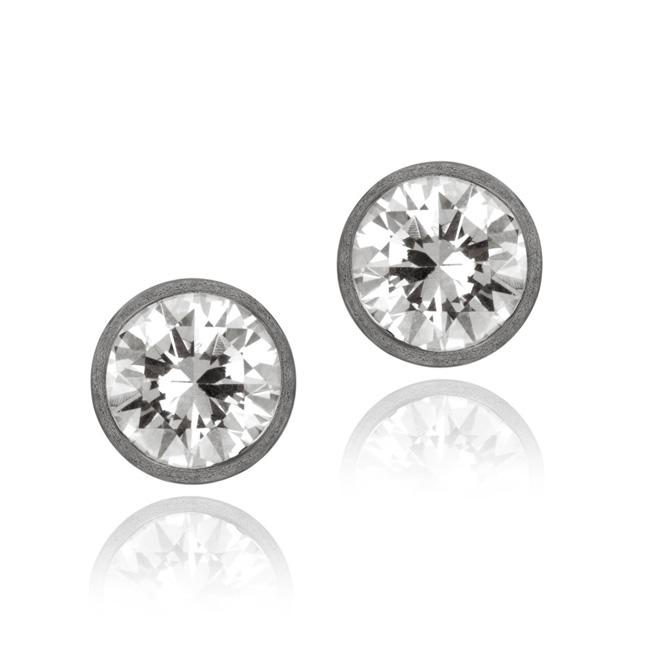 Icz Stonez Black Rhodium over Sterling Silver Cubic Zirconia Stud Earrings