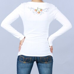 Antoinette C Women's Embroidered Cotton V-Neck Long-Sleeve Top