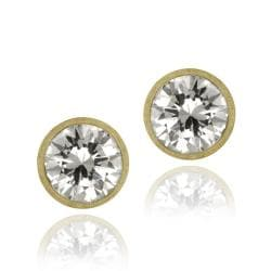 Icz Stonez 18k Gold over Sterling Silver 9 mm Cubic Zirconia Stud Earrings