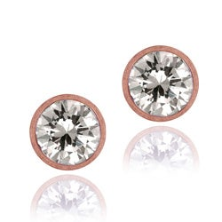 Icz Stonez 18k Rose Gold over Silver 9 mm Cubic Zirconia Stud Earrings