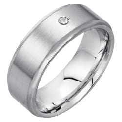 Men's High-polish Satin-finished Cobalt 8-mm Flushed Diamond Band