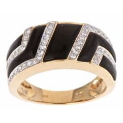 D'Yach 14k Yellow Gold Onyx and 1/3ct TDW Diamond Fashion Ring (G-H, I1-I2)