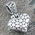 Sterling Silver Pebbled Hinged Heart Pendant (Indonesia)