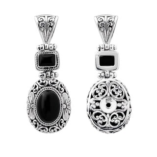 Sterling Silver Onyx Floral Motif Necklace (Indonesia)