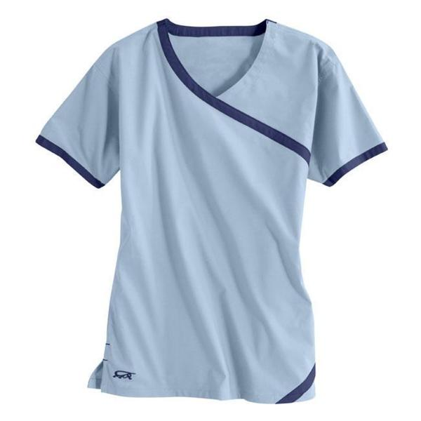 IguanaMed Women's Cross Over Iced Blue Top