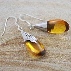 Sterling Silver Amber Bali Teardrops Dangle Earrings (Indonesia)