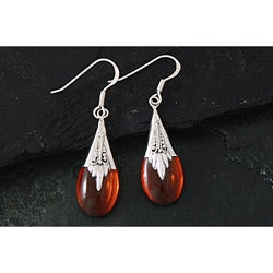 Sterling Silver Amber Bali Teardrops Dangle Earrings (Indonesia)