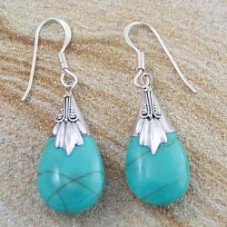 Sterling Silver Turquoise Bali Teardrop Dangle Earrings (Indonesia)