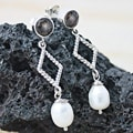 Silver Smokey Quartz/ FW Pearl Bali Dangle Earrings (8mm) (Indonesia)