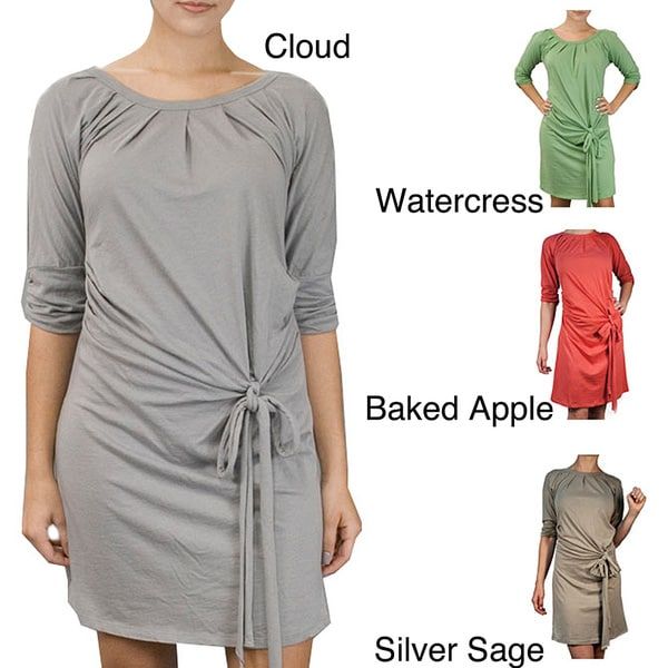 AtoZ Women's 3/4-sleeve Tie-front Dress
