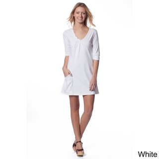 AtoZ Women's 3/4-sleeve Pleated V-neck Dress
