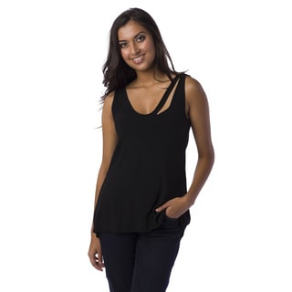 AtoZ Women's Cutout V-neck Tank Top