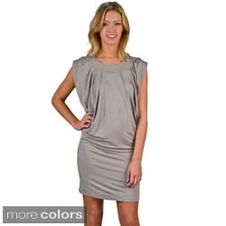 AtoZ Women's Cap Sleeve Boatneck Draped Dress