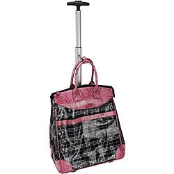 Rolling Multipurpose Tote in Plaid with Pink Faux-snakeskin Trim