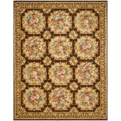 Asian Hand-knotted Savonnerie Brown Wool Rug (10' x 14')