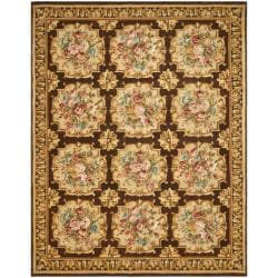 Asian Hand-knotted Savonnerie Brown Wool Rug (8' x 10')