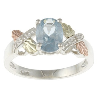 Black Hills Gold and Sterling Silver Created Aquamarine and Diamond Accent Ring