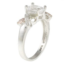 Black Hills Gold and Sterling Silver Created White Sapphire and Diamond Ring
