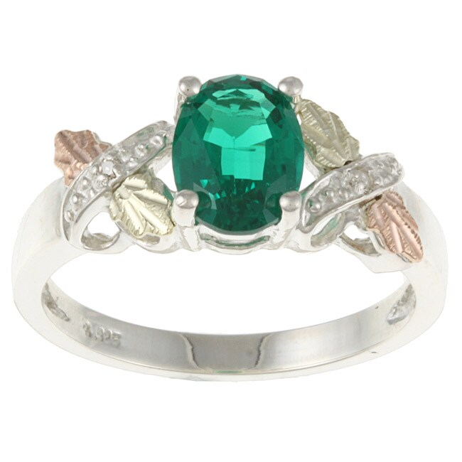 Black Hills Gold and Sterling Silver Created Emerald and Diamond Accent Ring
