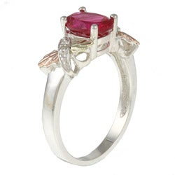 Black Hills Gold and Sterling Silver Created Ruby and Diamond Accent Ring