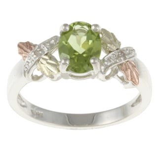 Black Hills Gold and Sterling Silver Peridot and Diamond Accent Ring